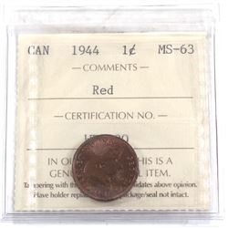 1-cent 1944 ICCS Certified MS-63 RED.