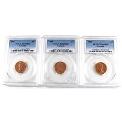 Group Lot 3x 1-cent PCGS Certified MS-6 RED. Lot includes 1957, 1958 & 1959! 3pcs