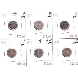 Group Lot 6x Victorian Silver 5-cent. Lot includes: 1888, 1891, 1893, 1896, 1899, & 1900 Oval 0's. C