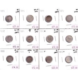 Group Lot 12x Victorian Silver 5-cent. Lot includes: 1872H, 1883H, 1885 Small 6, 1888, 1889, 1890H,