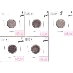 Group Lot 5x Victorian Silver 5-cent. Lot includes: 1871, 1872H, 1880H Obv.3, 1881H, & 1882H. Coins
