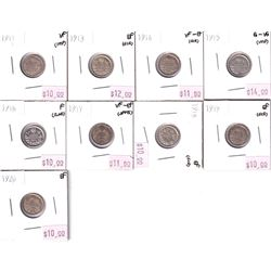 Group Lot 9x George 5th Silver 5-cent. Lot includes: 1911, 1913, 1914, 1915, 1916, 1917, 1918, 1919,