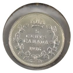 5-cent Silver 1916 UNC (MS-60) cleaned.
