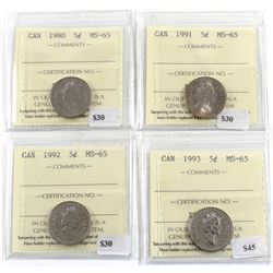Group Lot 4x 5-cent ICCS Certified MS-65. Lot includes: 1990, 1991, 1992, & 1993. 4pcs