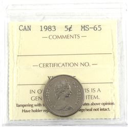 5-cent 1983 ICCS Certified MS-65.