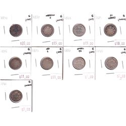 Group Lot 9x Victorian Silver 10-cent. Lot includes: 1858, 1870 Narrow 0, 1888, 1891 21 Lvs, 1896, 1