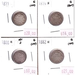 Group Lot 4x Victorian Silver 10-cent. Lot includes: 1871, 1874H, 1880H Obv.2, 1882H. All coins are