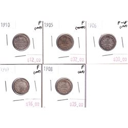 Group Lot 5x Edward VII Silver 10-cent. Lot includes: 1905, 1906, 1907, 1908 & 1910. All coins F-12