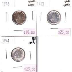 Group Lot 3x George 6th Silver 10-cent. Lot includes: 1941 AU, 1943 UNC, & 1946 UNC+. Coins have scr