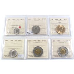 Group Lot of 6x ICCS Certified Specimen coins. Lot includes: 1997 10c SP-67, 1997 25c SP-67, 1996 Lo