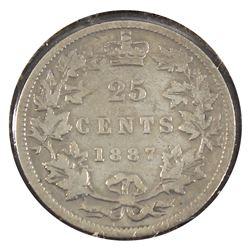 25-cent 1887 G-VG (cleaned) *Key Date* Coin has full date, full lettering and rim. Great coin to fil