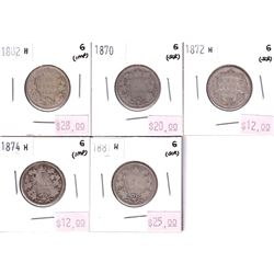 Group Lot 5x Victorian Silver 25-cent. Lot includes: 1870, 1872H, 1874H, 1881H, & 1882H. All coins G