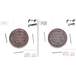 1900 & 1901 25-cent Both in F-VF. Both coins lightly impaired, but still attractive. 2pcs