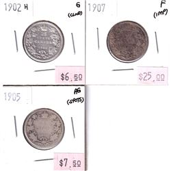 Group Lot 3x Low grade Edward VII Silver 25-cent. Lot includes: 1902H, 1905, 1907. Coins may be ligh