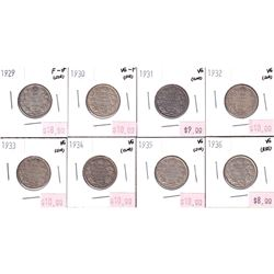 Group Lot 8x George 5th Silver 25-cent. Lot includes: 1929, 1930, 1931, 1932, 1933, 1934, 1935 & 193