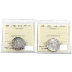 1938 & 1939 25-cent ICCS Certified AU-55 & AU-58. 2pcs