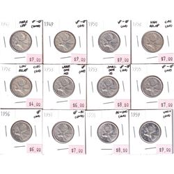 Group Lot 12x Silver 25-cent. Lot includes: 1947 ML, 1949, 1950, 1952 HR, 1952 LR, 1953 LD NSF, 1953