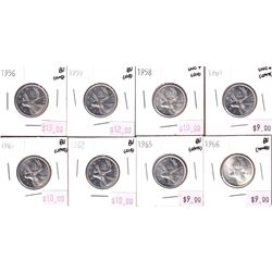 Group Lot 8x Silver 25-cent. Lot includes: 1956, 1957, 1958, 1960, 1961, 1962, 1965, & 1966. All coi