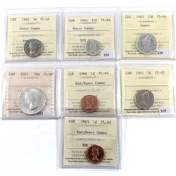 Group Lot of 7x ICCS Certified Proof-Like coins. 1963-1965. 7pcs
