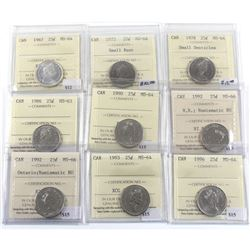 Group Lot of 9x ICCS Certified 25-cent. 1967-1996. MS-63 to MS-66! 9pcs