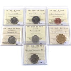 Group Lot of 7x ICCS Certified coins MS-65 to MS-67 NBU. 7pcs