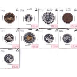 Group Lot 9x different Proof Canadian Coins 1992-2012. 9pcs