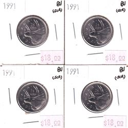 Lot of 4x 1991 25-cent in BU Condition *LOW MINTAGE* 4pcs