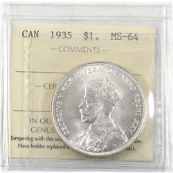 $1 1935 ICCS Certified MS-64. Attractive Blast White coin!