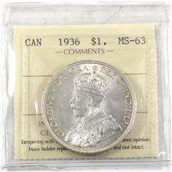 $1 1936 ICCS Certified MS-63. Attractive Mint state coin.