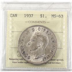 $1 1937 ICCS Certified MS-63. First Year Strike George 6th!