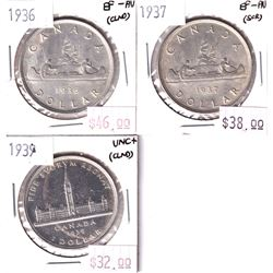 Group Lot 3x Silver $1: 1936 EF-AU, 1937 EF-AU, & 1939 UNC+. Coins may be lightly cleaned or impaire