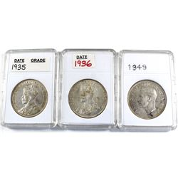 Group Lot 3x Silver $1: 1935, 1936, & 1949. All coins EF or better. Coins may be lightly cleaned or