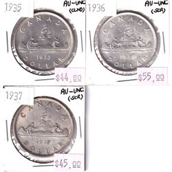 Group Lot 3x Silver $1: 1935, 1936, & 1937. First 3 years of issue. All coins AU-UNC. Coins may be l