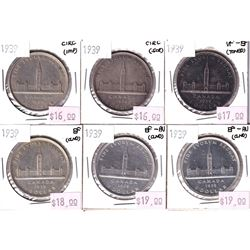 Group Lot 6x 1939 Parliament Commemorative Silver $1, coins range from Fine to EF-AU. Coins may be l