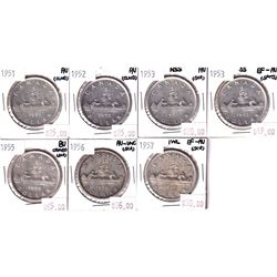Group Lot 7x Silver $1, 1951, 1952 WL, 1953 NSS, 1953 SS, 1955, 1956 & 1957 1WL. Coins range from EF