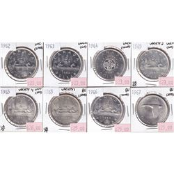Group Lot 8x Silver $1, 1962, 1963, 1964, 1965 V1, 1965 V2, 1965 V4, 1966 & 1967, all coins UNC to B