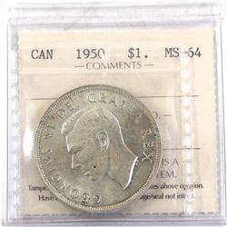 $1 1950 ICCS Certified MS-64.