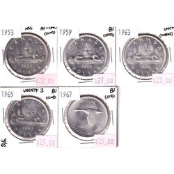 Group Lot 5x Silver $1, 1953 NSS, 1959, 1963, 1965 V3, 1967. Coins are AU to BU condition. Nice brig