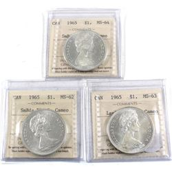 Group Lot 3x Mint State ICCS Certified Silver $1. Lot includes Lge Bds Blt 5 MS-63 Cameo, Sm Bds Blt