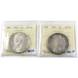 Group Lot 2x ICCS Certified Silver $1: 1966 Large Beads MS-64 & 1967 MS-64. 2pcs
