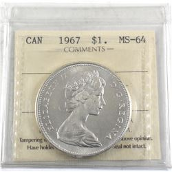 $1 1967 ICCS Certified MS-64. Blast White Attractive coin.