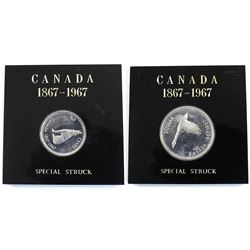 Set of 2x 1967 Commemorative Coins. Lot includes a Silver $1 and a 50-cent. Coins are Proof-Like and