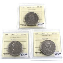 Group Lot 3x ICCS Certified Nickel $1, 1973, 1974, & 1975 All MS-64. 3pcs.