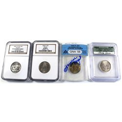 Group Lot of 4x USA Certified Commemorative Statehood Quarters. Lot includes: 1999-P Georgia signed