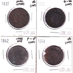 Group Lot 4x USA Large Cents. Lot Includes: 1844, 1942 Lg Date, 1938, & 1937 Sm Letters. Coins are l