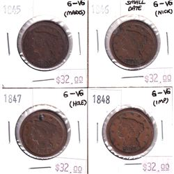 Group Lot 4x USA Large Cents. Lot Includes: 1845, 1846 Sm Date, 1847 Holed, & 1848. Coins are low gr