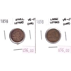 Pair of 2x 1858 USA Flying Eagle Cents. Lot includes a Large Letters in VG-F & Small Letters VG-F. C