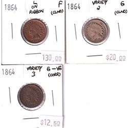 Group Lot 3x 1864 USA Indian Head Cents. Lot Includes: Variety 3 G-VG, Variety 2 Good, & L on Ribbon