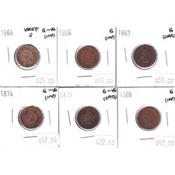 Group Lot 6x USA Indian Head Cents. Lot Includes: 1964 V2, 1866, 1867, 1868, 1874, & 1875. Coins are