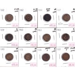 Group Lot 12x Low Grade USA Indian Head Cents. Lot Includes: 2x 1859, 1860 Round Bust, 1862 x2, 1863